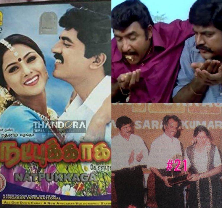 On left, A movie poster of Natpukkaga featuring Sarathkumar as Chinnaiya and Simran as Prabhavathi. On right, a movie scene from Natpukkaga.