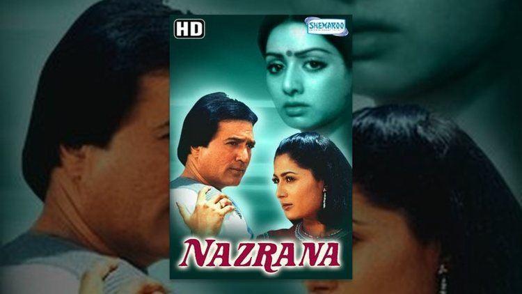 Rajesh Khanna, Sridevi, and Smita Patil in the poster of Nazrana (1987 film)