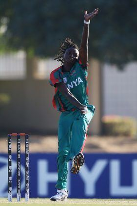 Nelson Odhiambo of Kenya in action during the warmup game between