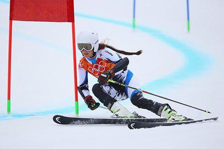 Nino Tsiklauri Agendage Skier Nino Tsiklauri on podium in FIS giant slalom event
