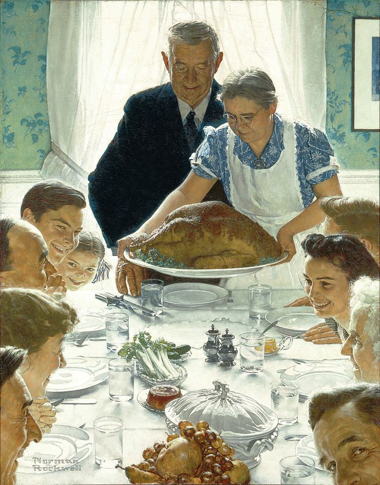 Norman Rockwell Thanksgiving art and Norman Rockwell On History