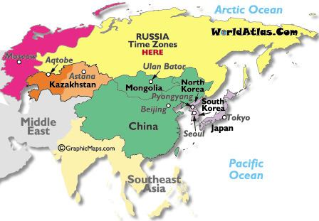North Asia Asia North Asia Time Zones Map