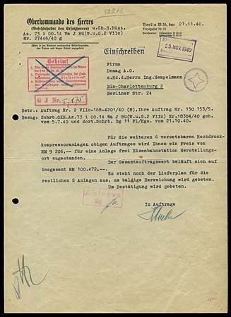 Oberkommando des Heeres Lot Detail 1940 OBERKOMMANDO DES HEERES BERLIN TIRPITZUFER 7276
