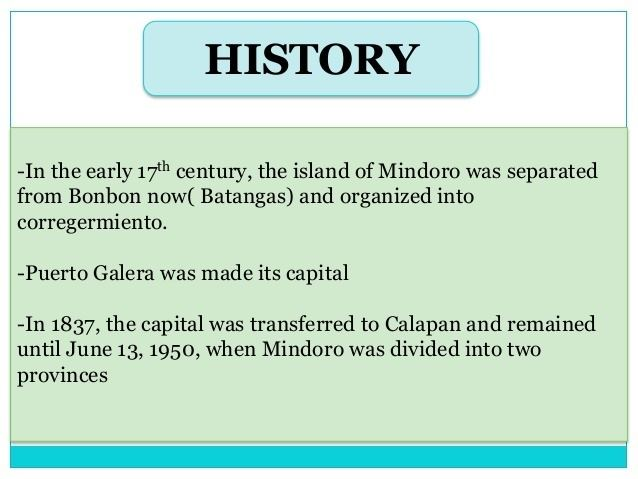 Occidental Mindoro in the past, History of Occidental Mindoro