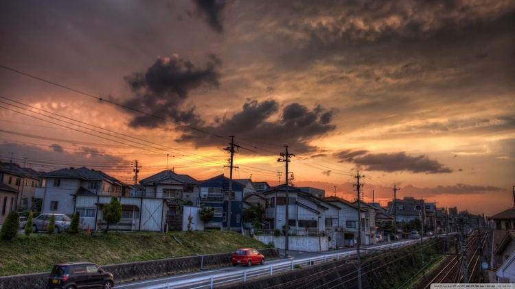 Okazaki, Aichi Sunset Okazaki Aichi Prefecture Japan HD desktop wallpaper
