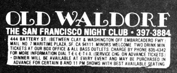 Old Waldorf Jerry39s Brokendown Palaces Old Waldorf 444 Battery Street San