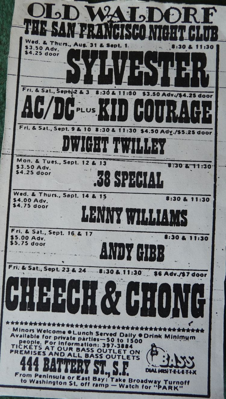 Old Waldorf ACDC Concert information for The Old Waldorf San Francisco CA