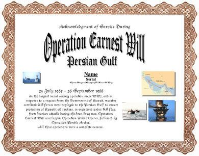 Operation Earnest Will Operation Earnest Will Display Recognition