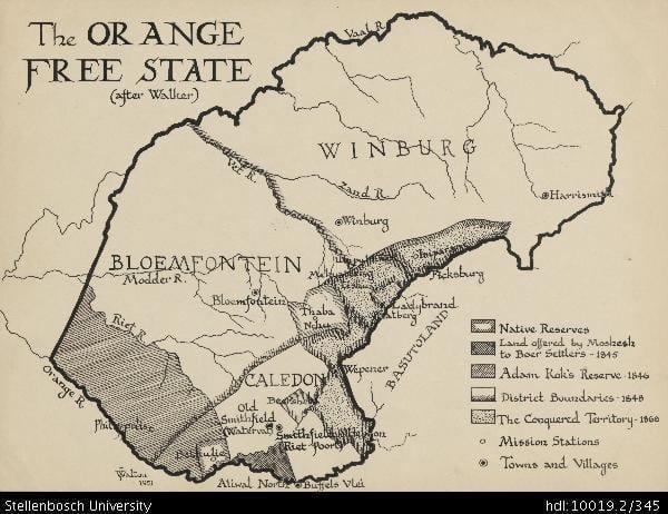 Orange Free State Map of the Orange Free State