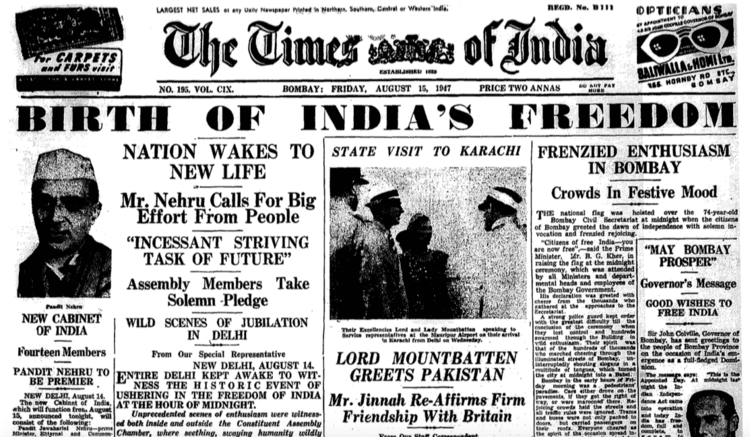 Partition of India How Indian newspapers reported Independence and Partition in 1947