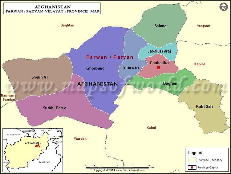 Parwan Map Map of Parwan Province Velayat Afghanistan