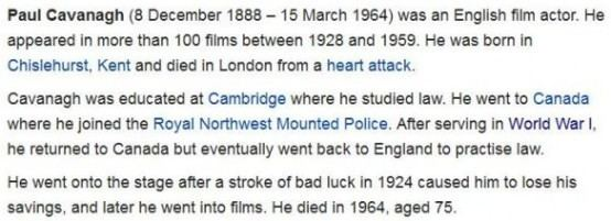 Paul Cavanagh Paul Cavanagh Case No 9840 Fills in Actors Early Biography