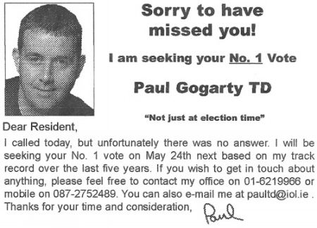 Paul Gogarty Paul Gogarty Irish Election Literature