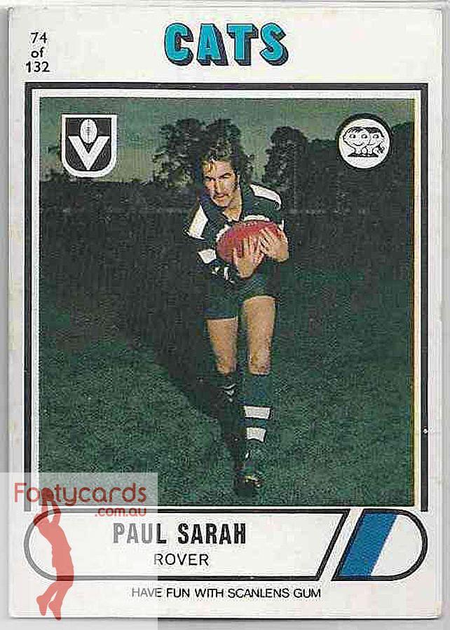 Paul Sarah 19911963 1976 VFL Scanlens 1976 VFLAFL Scanlens 074 Paul Sarah