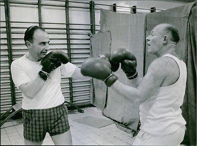 Paul Vanden Boeynants Vintage Photo Of Belgian Politician Paul Vanden Boeynants Boxing