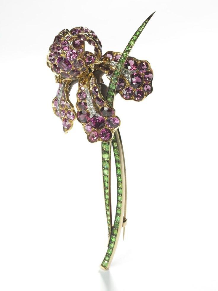 Paulding Farnham Iris Brooch Tiffany amp Co Pink tourmalines demantoid
