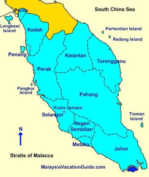 Peninsular Malaysia Malaysia Map