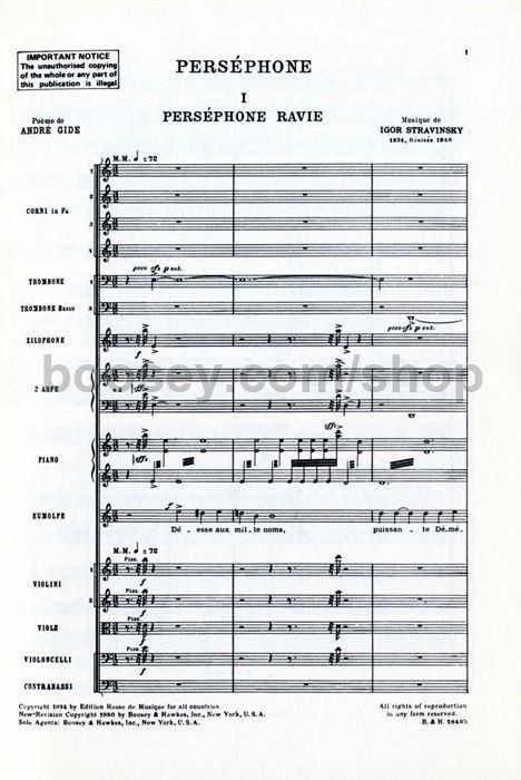 Perséphone (Stravinsky) Igor Stravinsky Persephone rev 1949