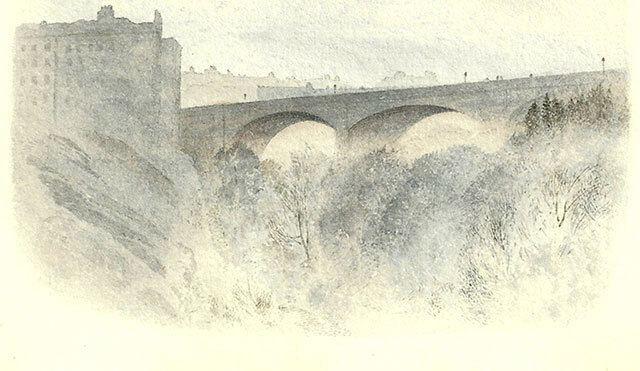 Peter Ingram Weir Bridge a watercolour by Peter Ingram Weir