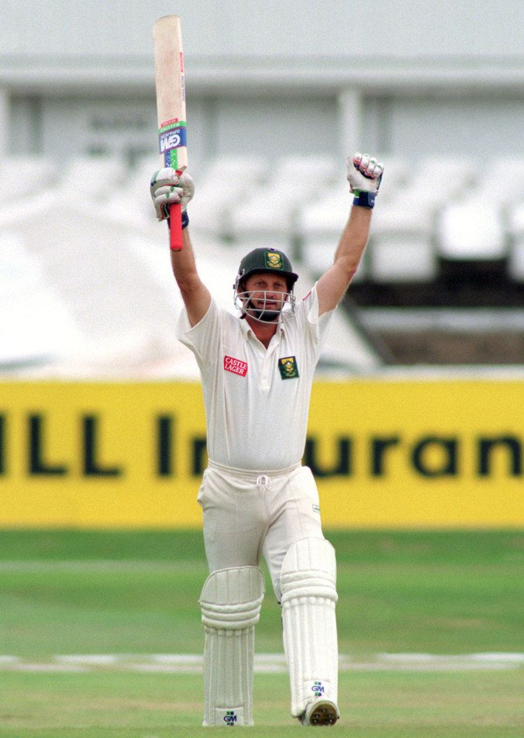Peter Kirsten celebrates his maiden Test century Photo Global