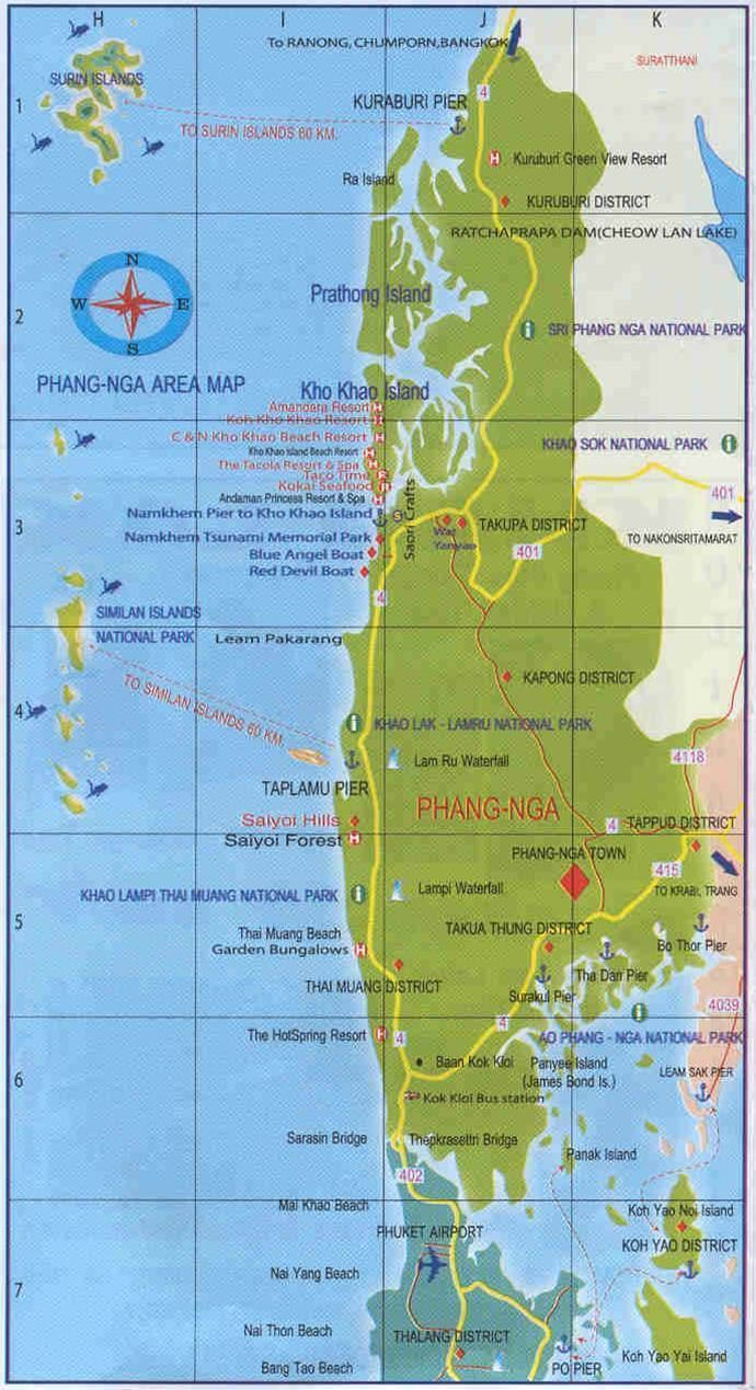 Map of Phang Nga Province in Thailand Excellent details of the