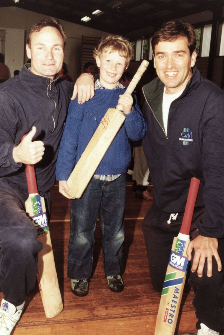 Plateau School cricketers Phil Horne and Willie Watson with Chris