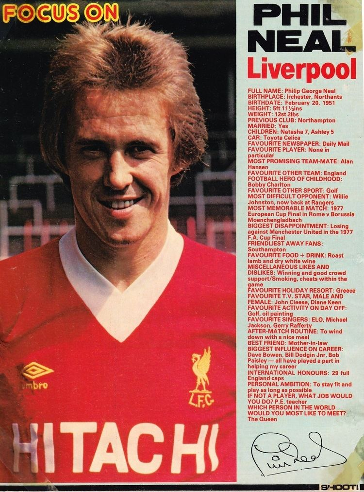 Phil Neal Liverpool career stats for Phil Neal LFChistory Stats galore for