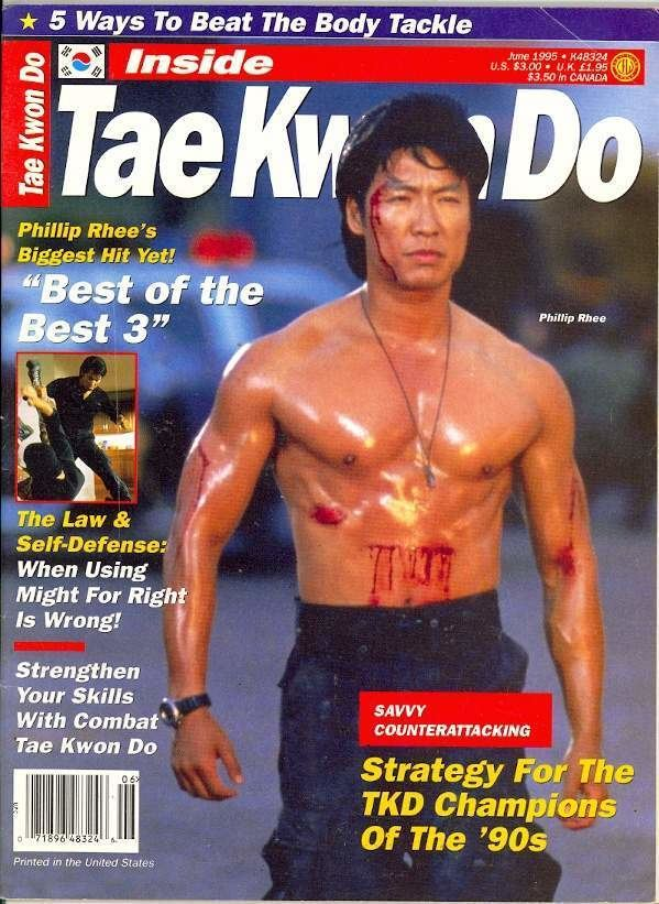 Phillip Rhee, featured in Taekwondo magazine with blood on his body while wearing blue pants