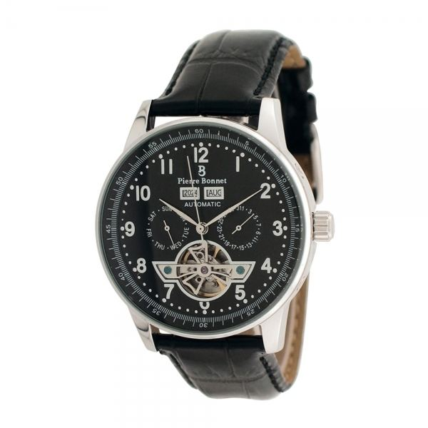 Pierre Bonnet (naturalist) Pierre Bonnet automatic stainless steel and leather wristwatch