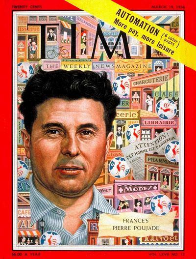 Pierre Poujade TIME Magazine Cover Pierre Poujade Mar 19 1956 France