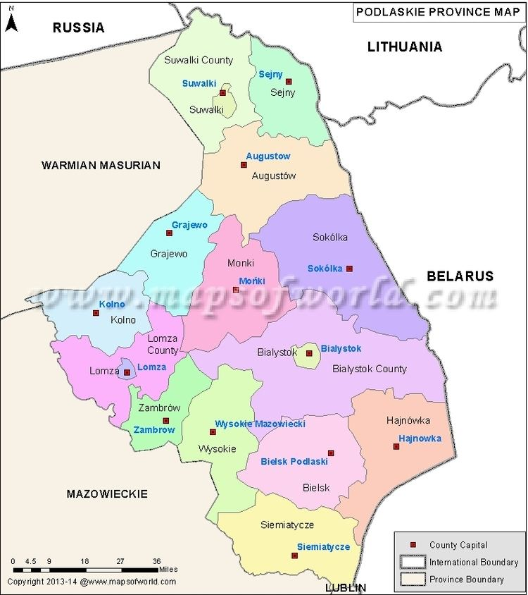 Map of Podlaskie Voivodeship in Polish Wojewodztwa Podlaskie