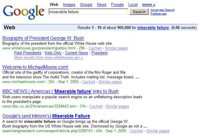 Political Google bombs in the 2004 U.S. Presidential election