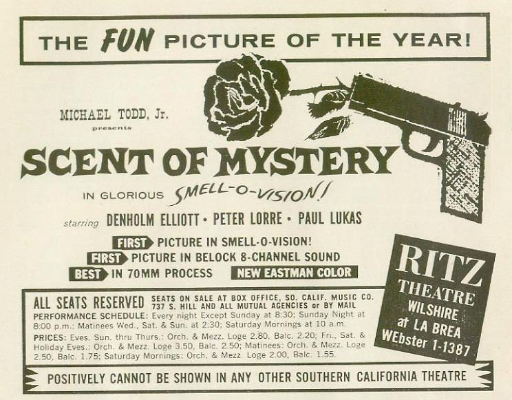 Polyester (film) movie scenes This film time released 30 different odors into the air of the theaters through a system of tubes know as a smell brain