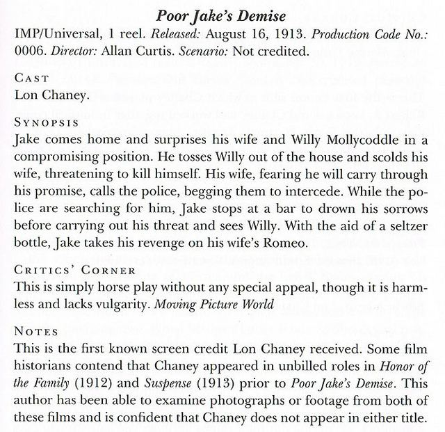 Poor Jake's Demise MonsterVision Elveszett Lon Chaney film Poor Jakes Demise 1913