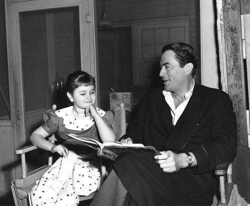 Portland Mason Gregory Peck and 7yearold Portland Mason on the set of