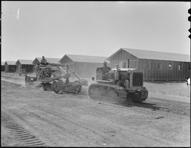 Poston War Relocation Center FilePoston Arizona Leveling the streets with tractors at this War