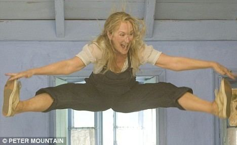 Queen Sized movie scenes Jumping for joy 59 year old Meryl Streep s amazing jumping split on the set of the movie Mamma Mia