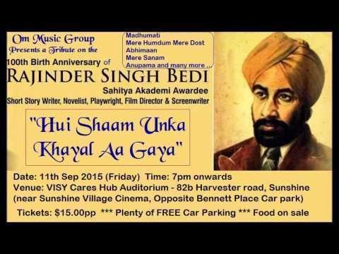 Rajinder Singh Bedi Toote Huye Khwabon ne Shri Rajinder Singh Bedi A Tribute