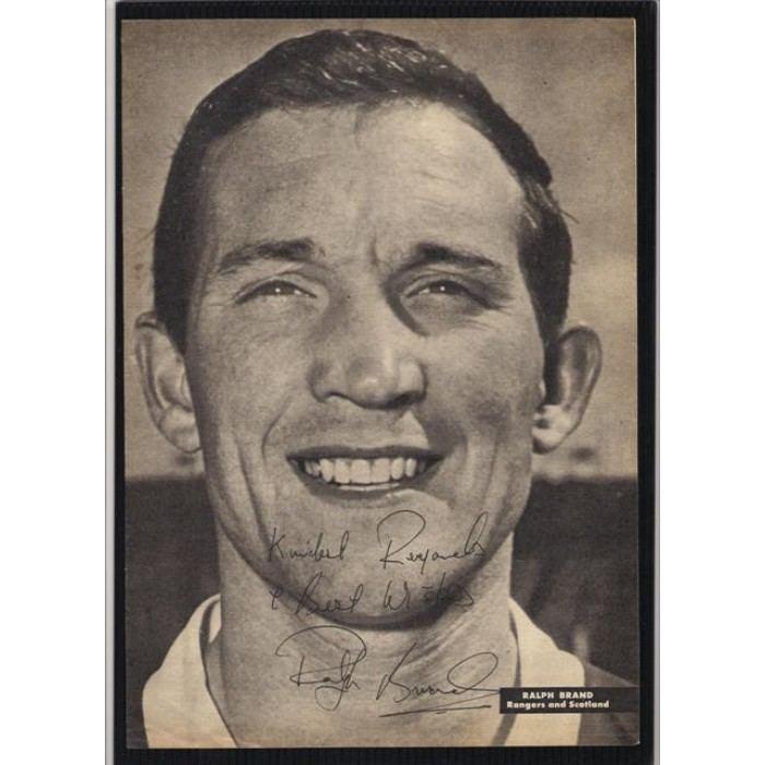 Ralph Brand Signed portrait of former Glasgow Rangers footballer Ralph Brand