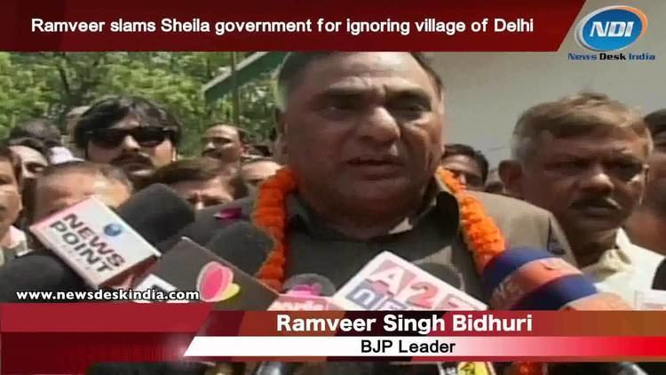 Ramvir Singh Bidhuri Ramveer slams Sheila government for ignoring villages of Delhi YouTube