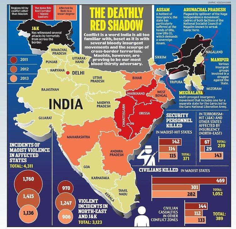 Red corridor Maoists kill one soldier every three days Naxal corridor is three