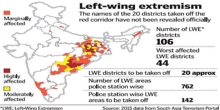 Red corridor Red Corridor data to be updated 20 districts to be taken of the