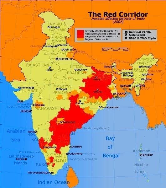 Red corridor States oppose Center39s plan on redrawing Red Corridor Guru Mavin