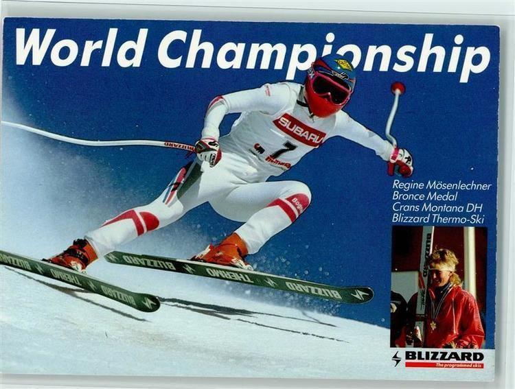 Regine Mösenlechner Ski Regine Msenlechner beim Lauf 1987 WM Abfahrt Bronze