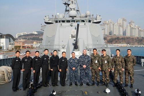 Republic of Korea Navy US Republic of Korea Navy Sailors Train in Air Intercept Control