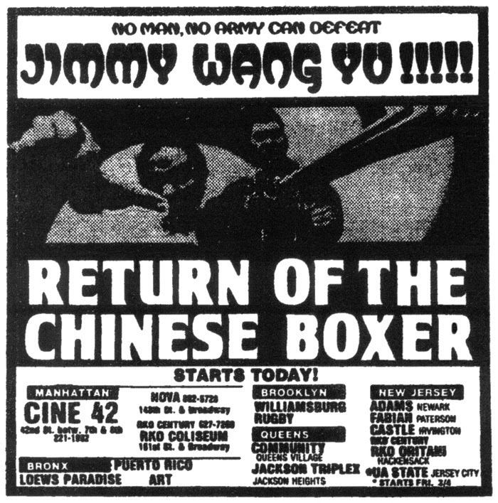 Return of the Chinese Boxer TEMPLE OF SCHLOCK Movie Ad of the Week RETURN OF THE CHINESE BOXER