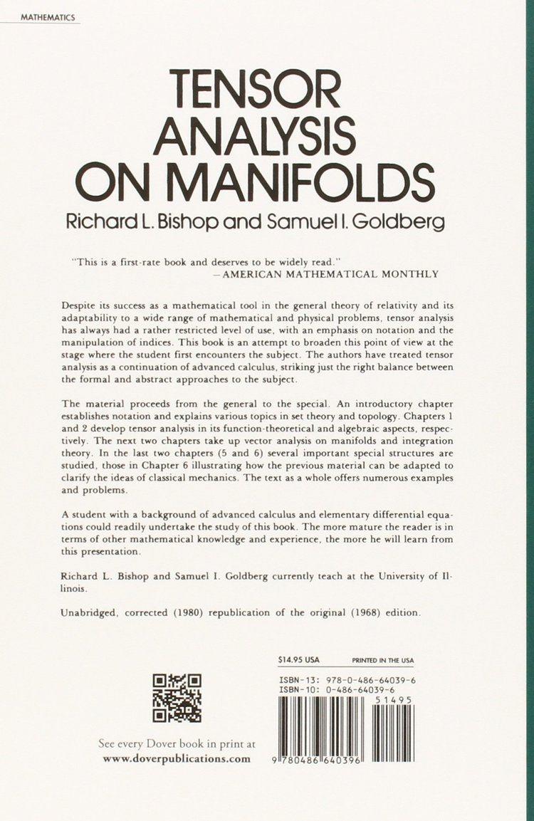 Richard L. Bishop Tensor Analysis on Manifolds Richard L Bishop Samuel I Goldberg