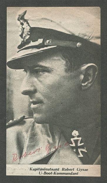 Robert Gysae KM 10 COMMANDER OF U 177 ROBERT GYSAE RKT WITH OAKS WAR TIME