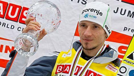 Robert Kranjec Prime Minister Janez Jana congratulates Slovenian ski