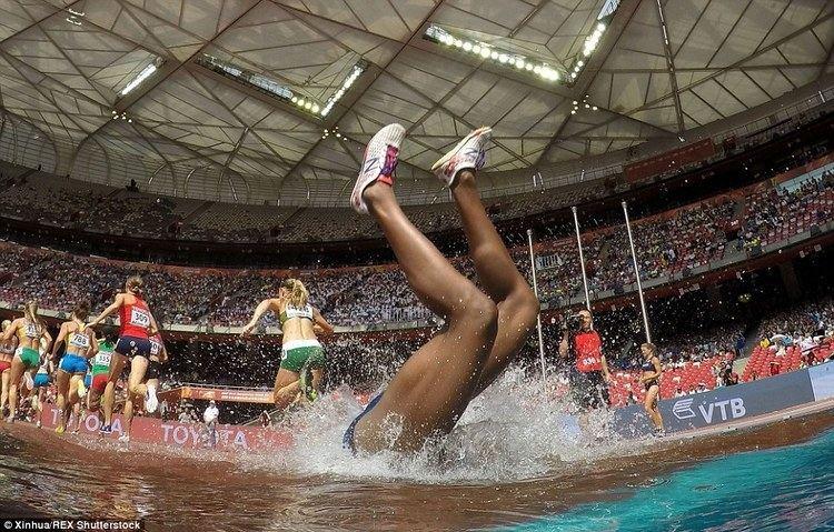 Rolanda Bell Rolanda Bell falls head first into a water jump during 3000m